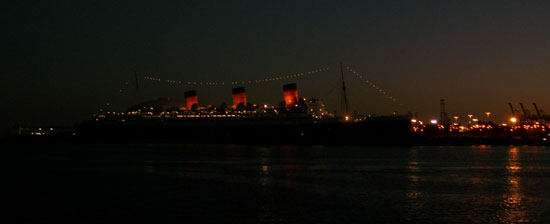 RMS Queen Mary at Night