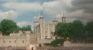 Tower of London as viewed from the Thames River.