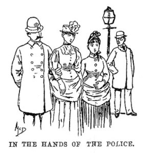 Nellie Bly is escorted to the courts.