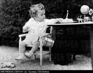 Charles Lindbergh Jr. 1930_1932, son of American pilot Charles Lindbergh, celebrating his birthday prior to his kidnapping.