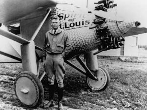 Charles Lindbergh Sr. beside his world famous plane Spirit of St Louis