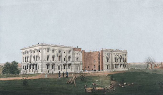 Water color and ink rendering of the burnt White House after the 1814 fire. (courtesy of Wikimedia Commons)