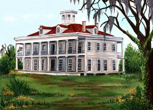 Artist's rendering of LeBeau Plantation as it appeared in the 1800s.