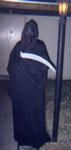 The infamous Grim Reaper costume that scared a football linebacker. I have a real Scythe to go with the costume now! Bwahahaha!
