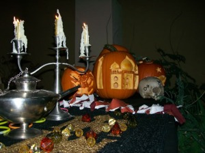 Our table set up for our Persian themed Halloween.