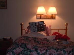 Jadewik doing a little bedtime reading about Salem, MA.