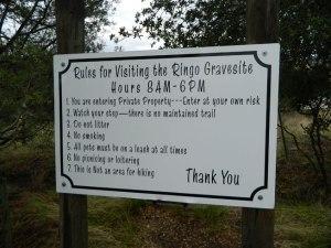 Ringo Gravesite Rules